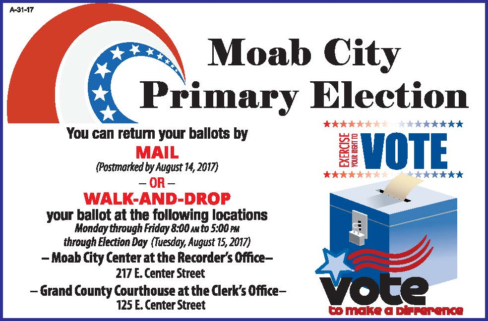 Moab City Primary Election Flyer