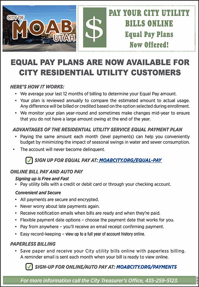City of Moab Equal Pay-Online Billing-for website