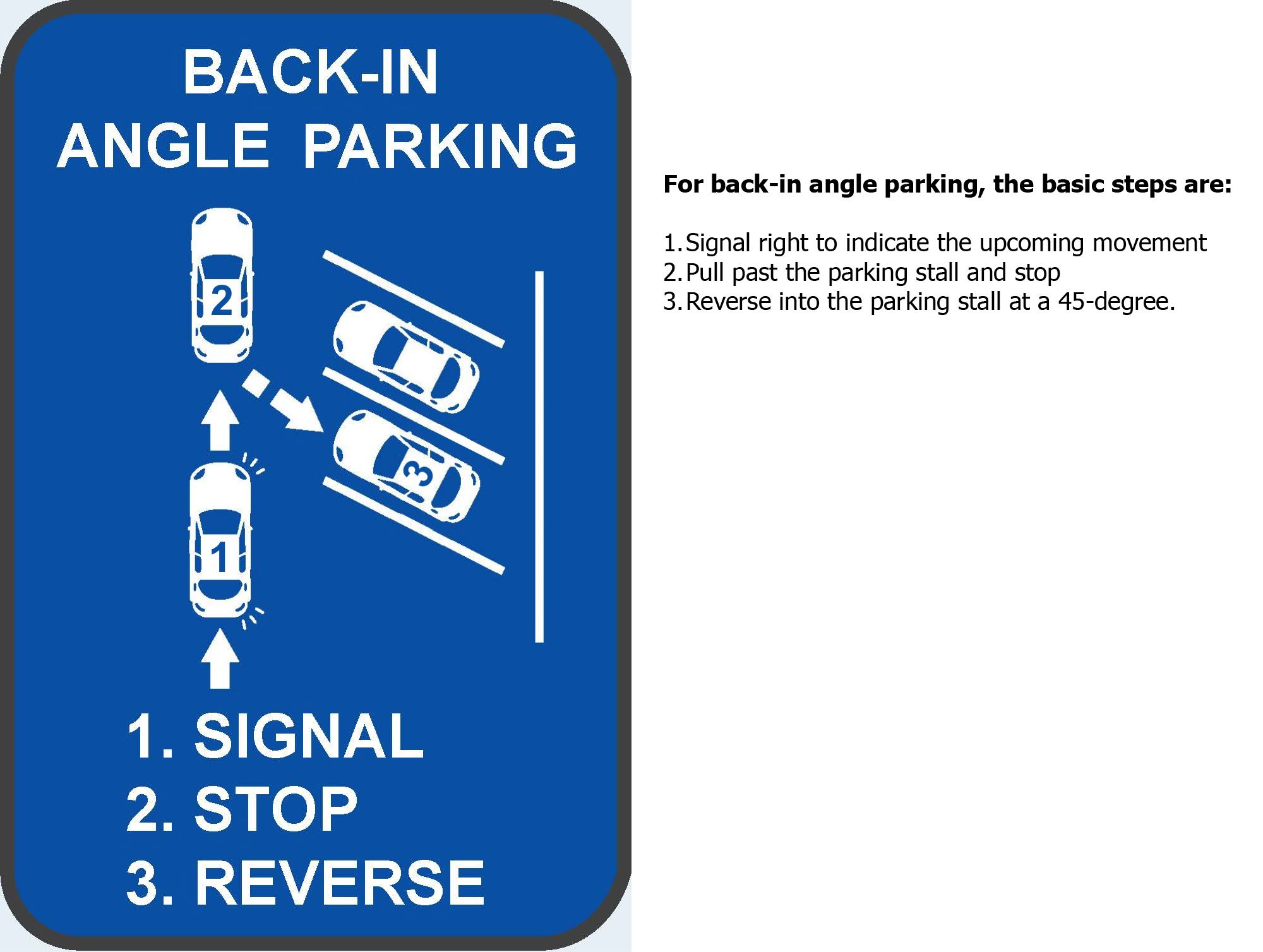 Back-in Angle Parking sign w text